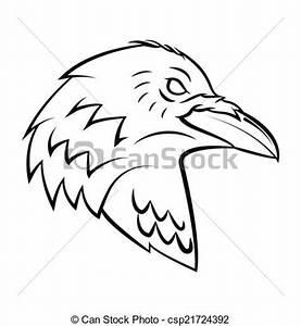Vecteurs EPS de corbeau, tête, tatouage csp21724392 ...