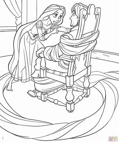 Princess Rapunzel Disney Coloring Flynn Cartoon Bubakids