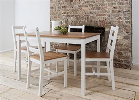 dining table 4 chairs annika in white and pine