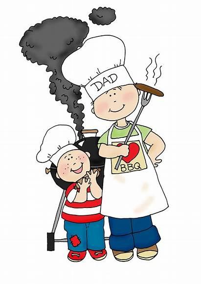 Dad Clipart Grilling Bbq Son Chef Clip