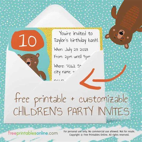printable childrens party invites  printables