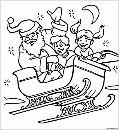 Sleigh Santa Coloring Claus Pages Flying Children