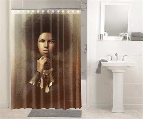 Afrocentric Afro Hair Design African #635 Shower Curtain Waterproof Bathroom Decor