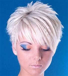 A short blonde straight spikey choppy coloured Layered ...