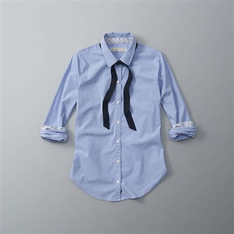 lyst abercrombie and fitch poplin necktie button up shirt in blue