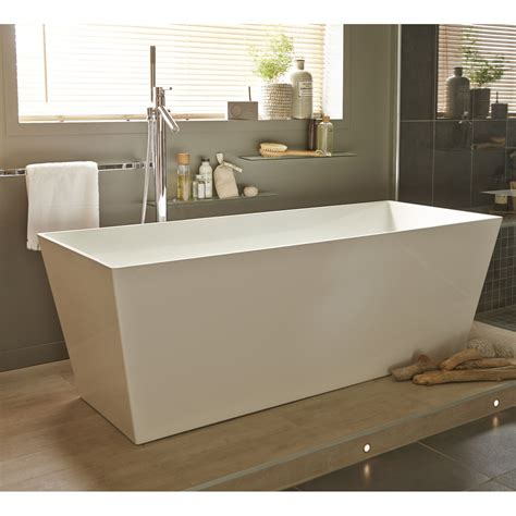 baignoire 238 lot rectangulaire l 159x l 65 cm blanc brillant