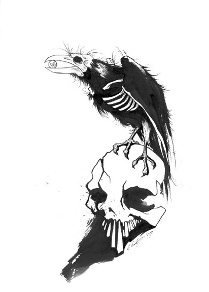 Skull And Crow Skeleton Tattoo Design