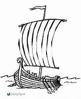 Coloring Boat Viking Ship Boats sketch template