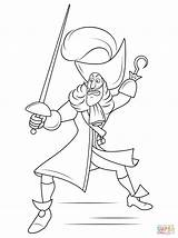 Coloring Pages Hook Captain Disney Drawing Printable Paper sketch template