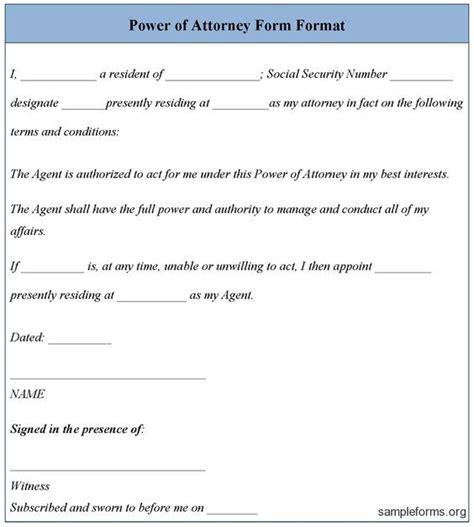 power attorney template power  attorney form