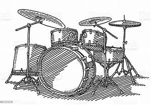 Drum Kit Music Instrument Drawing Stock Vector Art