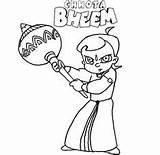 Bheem Coloring Chota Netart Little Bludgeon Fight Characters sketch template