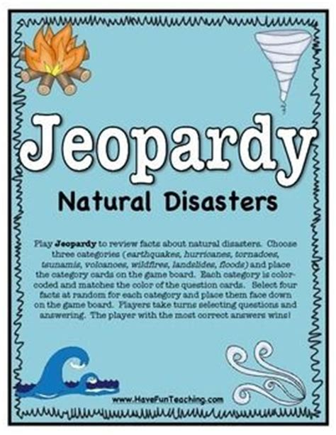 natural disaster activity jeopardy   teacher