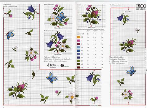 schemi punto croce fiori piccoli idea tovaglia punto croce con piccoli fiori e farfalle