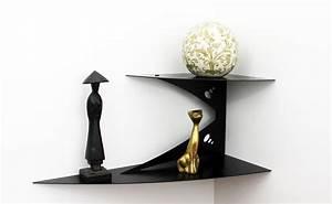 Petite étagère D Angle : etag re murale d 39 angle noire fixation invisible tablette d 39 angle ~ Teatrodelosmanantiales.com Idées de Décoration