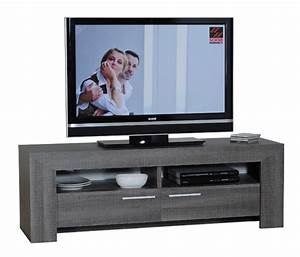 Meuble Tv Bois Foncé : meuble tv gris fonc lathi 56 ~ Teatrodelosmanantiales.com Idées de Décoration