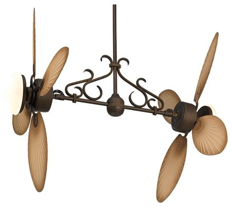 double head ceiling fan with light country cottage casa nova palm dual head 2 light outdoor
