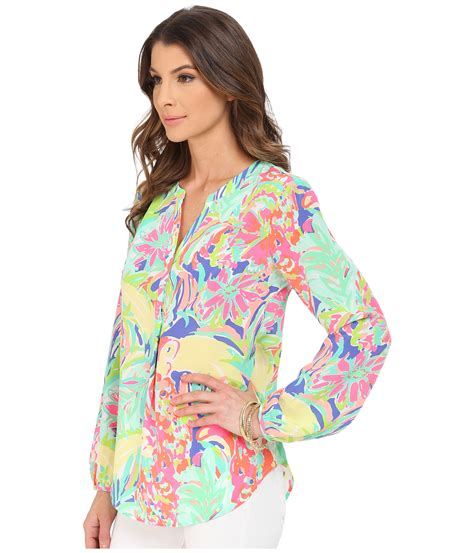 lilly pulitzer blouse lilly pulitzer stacey top multi casa banana zappos com