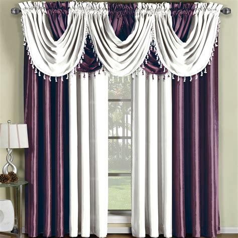 White And Silver Valance by Soho Waterfall Window Treatment
