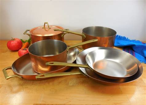pc set unused paul revere ware limited ed copper stainless brass cookware revere ware