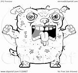 Ugly Dog Mad Cartoon Coloring Outlined Clipart Vector Cory Thoman Royalty sketch template