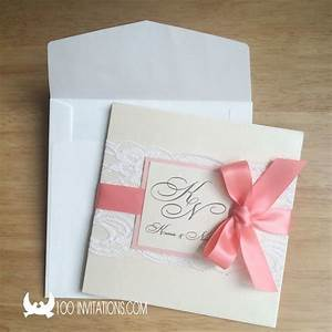 coral ribbon lace pocket wedding invitations wedding With wedding invitations with ribbons and lace