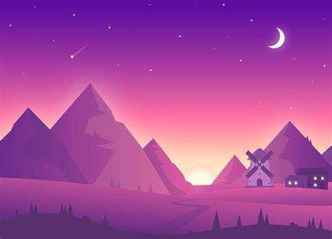 scenic landscape illustrations  vibrant colors