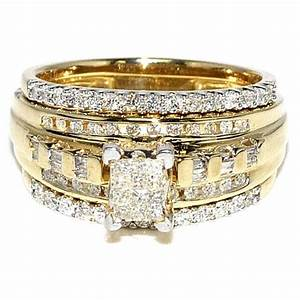princess cut diamond bridal rings set 10k yellow gold 0 With 10k yellow gold wedding ring set