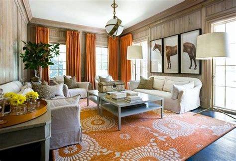 orange curtains contemporary living room melanie
