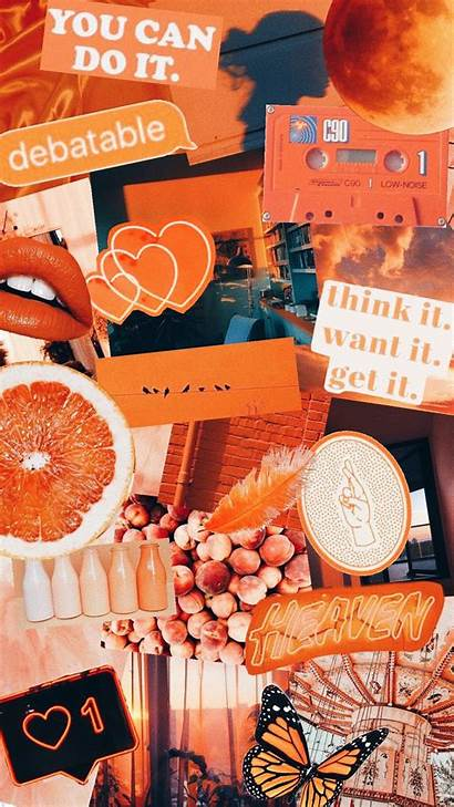 Aesthetic Collage Orange Wallpapers Pastel Iphone Backgrounds