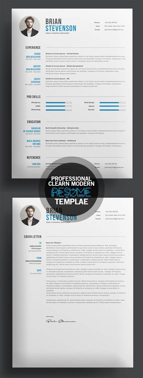 Creative Professional Resume Templates by 18 Professional Cv Resume Templates And Cover Letter