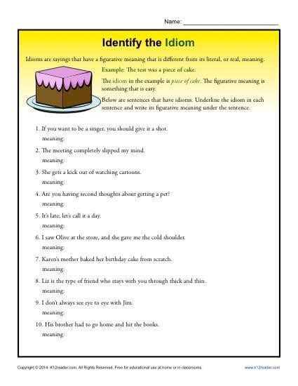 idiom worksheets 4th grade worksheets for all