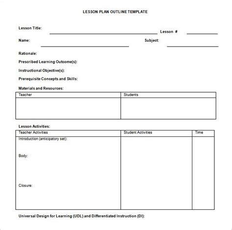 teaching plan template 9 lesson plan outline templates doc pdf free premium templates