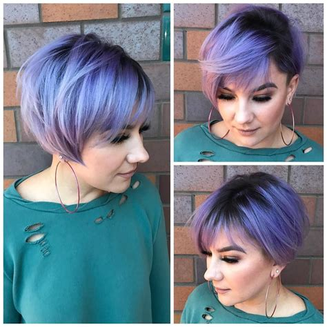 undercut pixie bob  side swept bangs  metallic