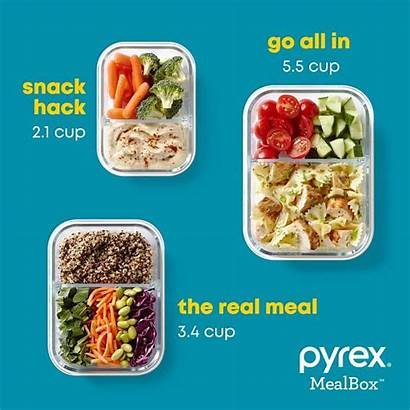 Divided Glass Cup Mealbox Piece Pyrex