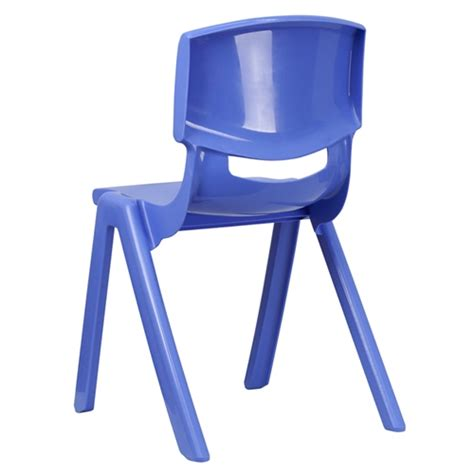 blue plastic stackable school chair with 18 seat height
