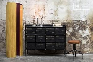Commode Style Industriel : commode d 39 atelier 12 tiroirs meuble factory pib ~ Teatrodelosmanantiales.com Idées de Décoration