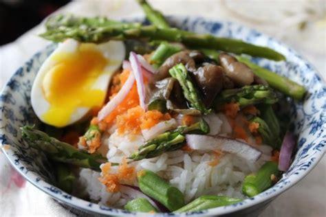 asparagus rice  eggs mushrooms