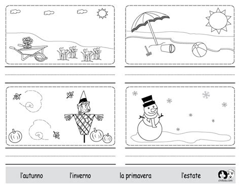 seasons italian worksheets lote learning spanish for