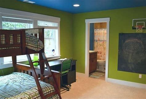 Kinderzimmer Grün Blau by Kinderzimmer Streichen W 228 Nde Gr 252 N Decke Blau Etagenbetten