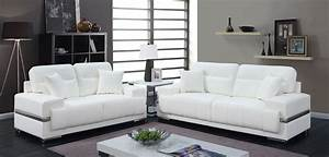 Zibak contemporary style white breathable leatherette 2pc for Stratford home pillows living room furniture