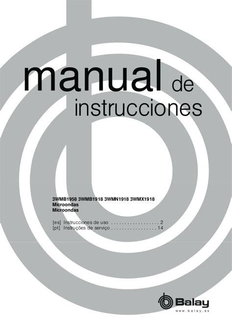 manual balay microondas wmx