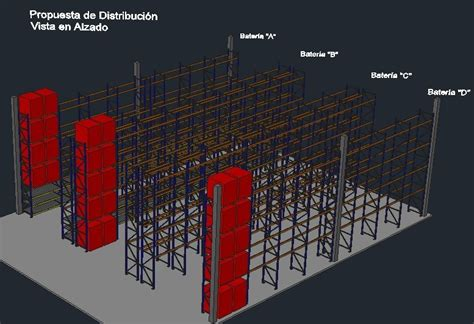 warehouse storage rack system dwg block  autocad