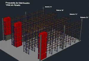 Warehouse Storage Rack System Dwg Block For Autocad