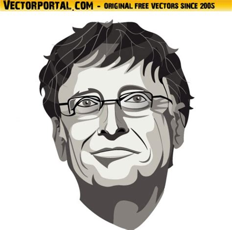 Free Vector | Bill gates face closeup in black and white ...