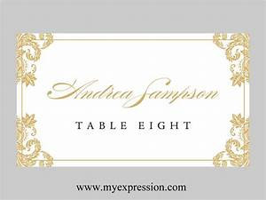 Wedding place cards template folded gold damask for Templates for place cards for weddings