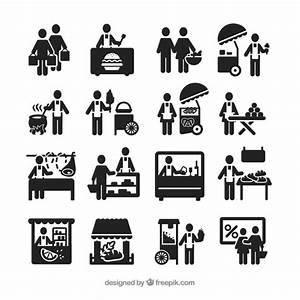 Street vendor icons Vector | Free Download
