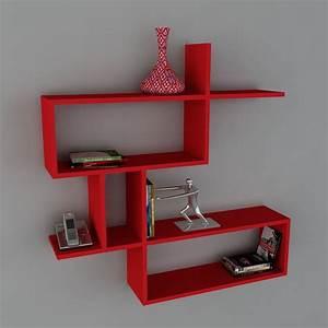Etagere Murale Rouge : wooden art tag re murale rouge brandalley ~ Teatrodelosmanantiales.com Idées de Décoration