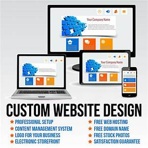 Custom Website Design Package   Free Hosting And Domain