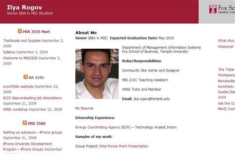 E Portfolio For Resume by New E Portfolio And E Resume Contest Temple Fox Mis